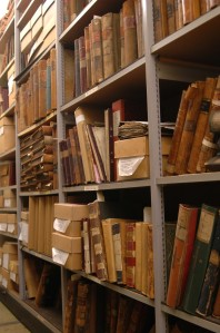 Archives on shelves