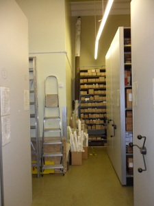 Archive strongroom 1 with large plan
