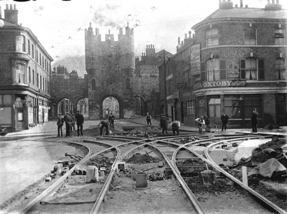 Laying lines for electric tram outside Micklegate
