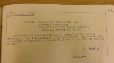 The committee disallows the film being shown in York