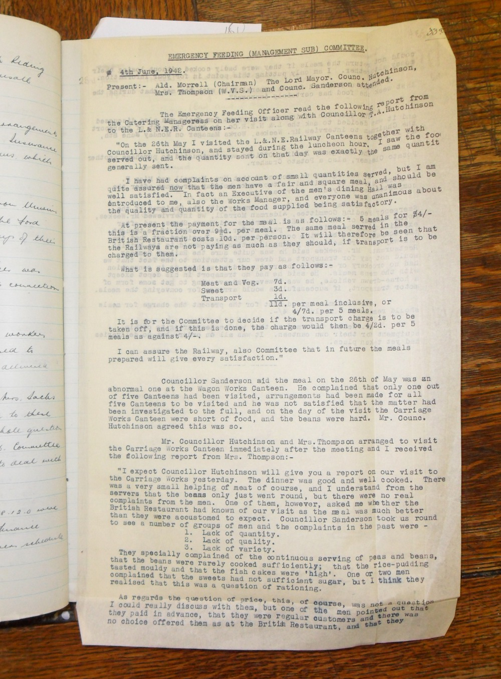 Typescript report on LNER canteen inspection