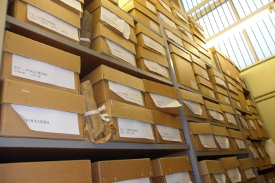 Archive boxes on shelves with temporary labels