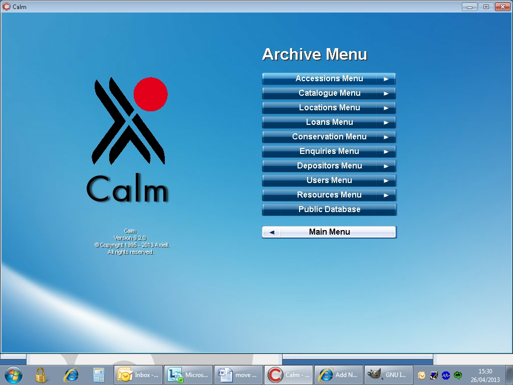 Opening screen of CALM - it can be used for tracking all sorts of info, from locations to conservation work. It's used by museums as well as archives.