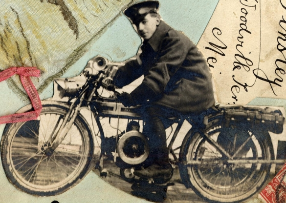 Soldier from thought to be from Strensall barracks on a motorcycle. From a page in a scrapbook belonging to a lady from Strensall.
