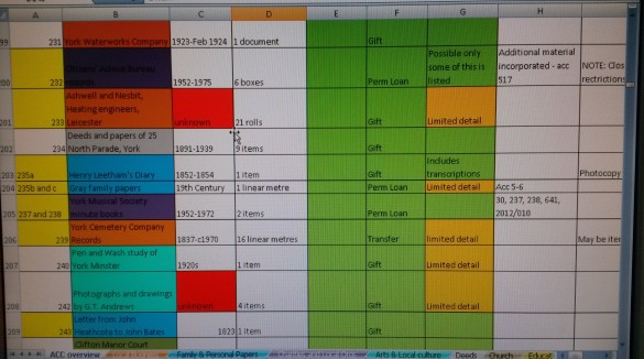 Still from the accessions audit spreadsheet