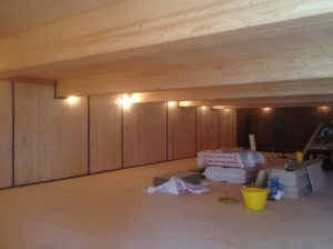 "Picture of interior of new wooden archive vault, captioned ""As one of my colleagues says - it looks like a Swedish sauna..."""