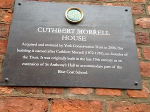 Plaque outside Cuthbert Morrell House, 47 Aldwark.