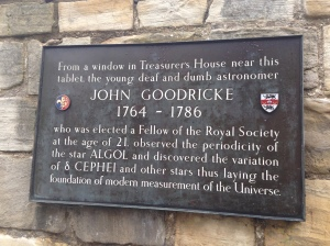 Plaque commemorating John Goodricke, near Treasurer's House