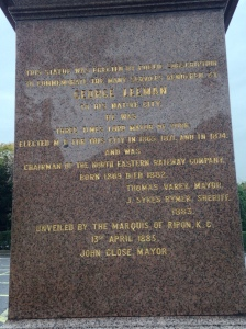 Inscription on the statue of George Leeman.