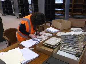 Georgie, complete with high viz working on one of our collections