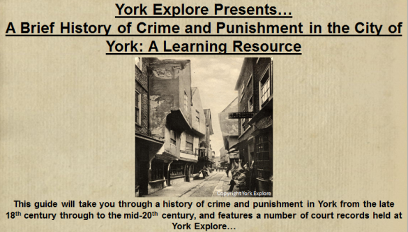The opening slide of the presentation that will be displayed on the screens around York Explore