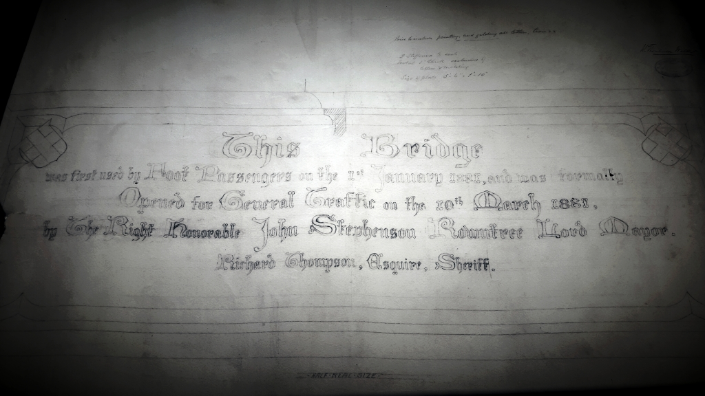 A drawing of the Skeldergate Bridge opening plaque (Refeence PH097/1757)