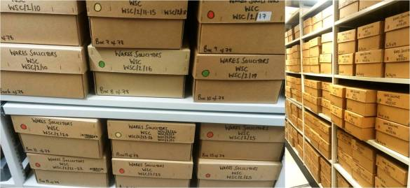 The now organised Wares Solicitors collection. Searchable on the online catalogue at Ref no. WSC