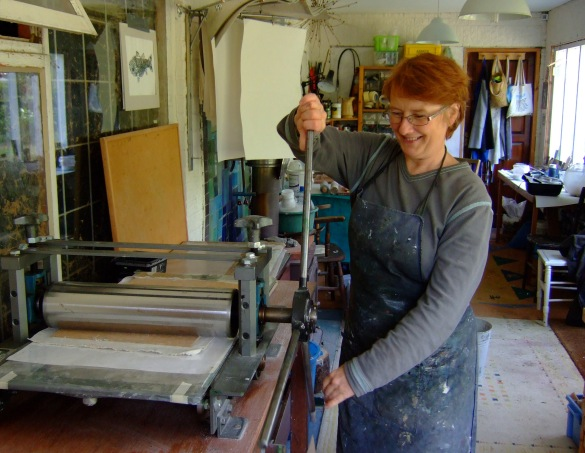 Emily busy creating the panels in her studio!