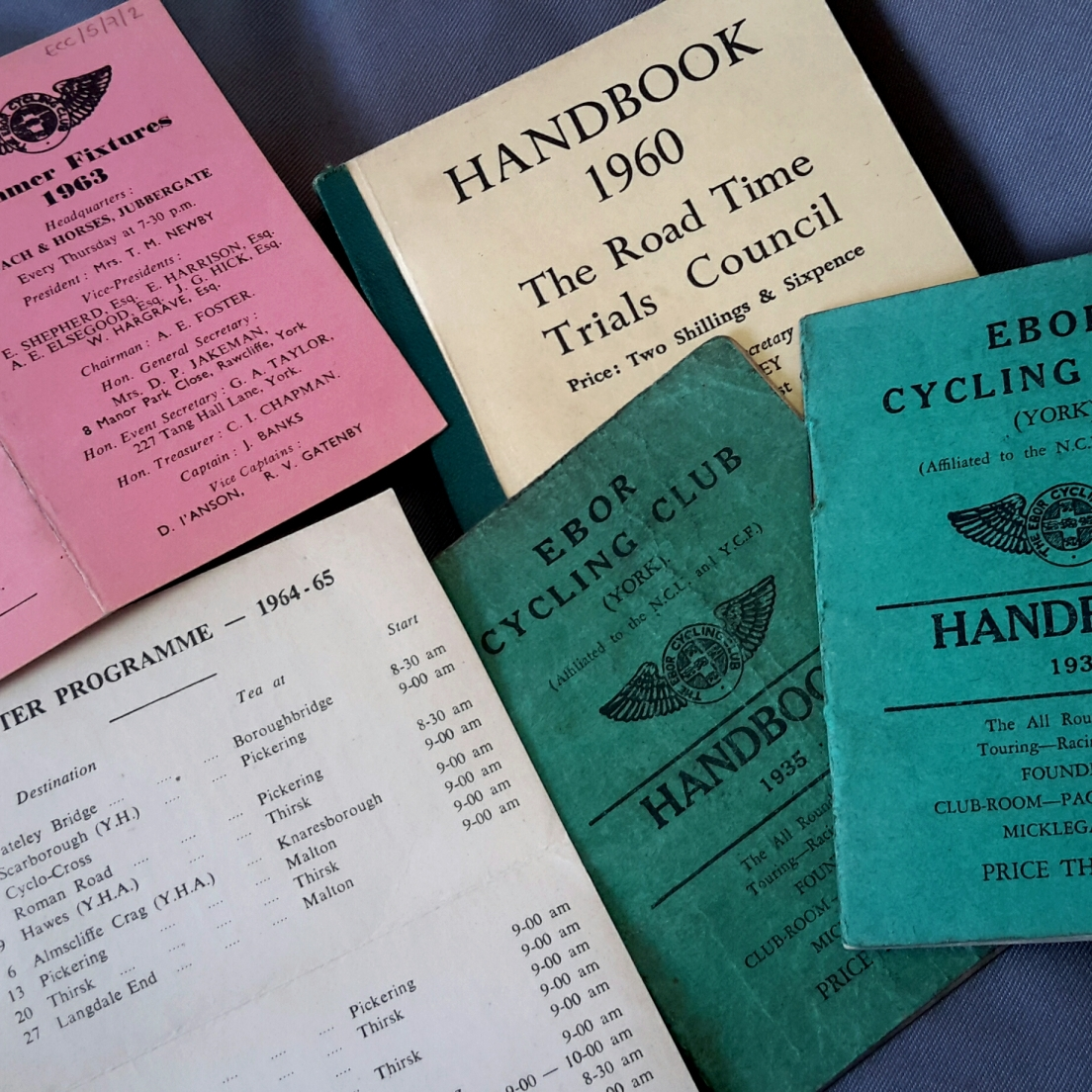 Ebor Cycling Club handbooks (ECC/5/6) and runs cards (ECC/5/8).