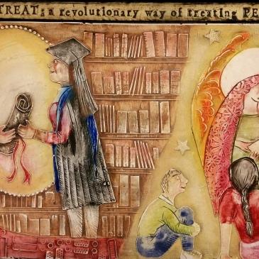A graduate receiving her scroll