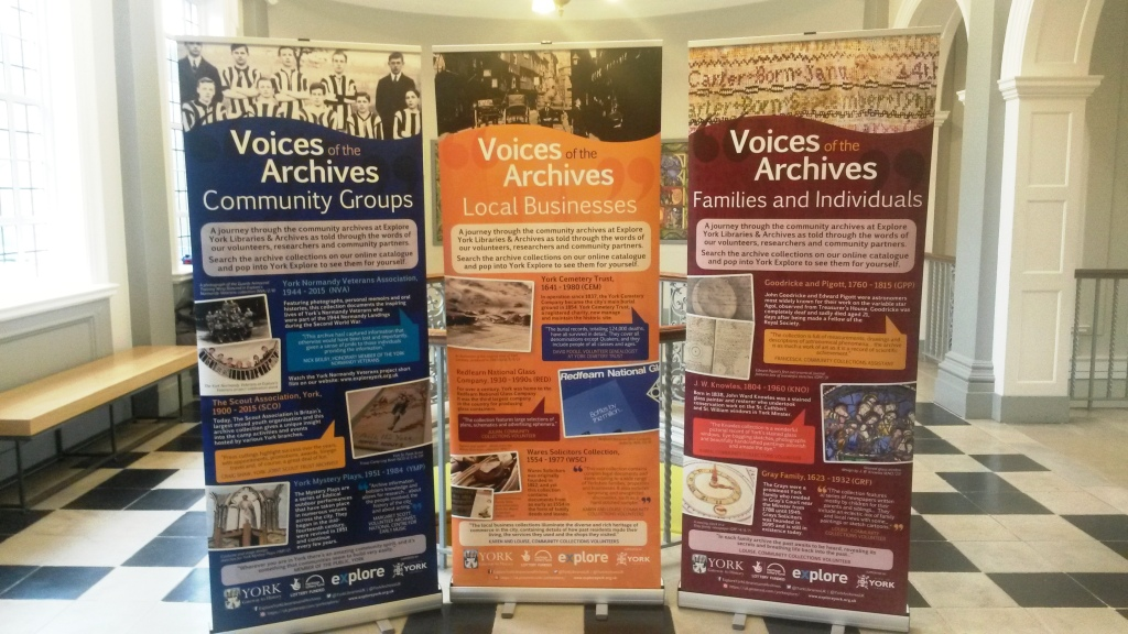 Voices of the Archives pop-up banners on the first floor landing at York Explore