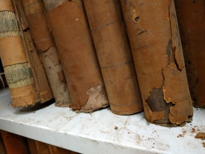 Red rot at work on leather-bound volumes