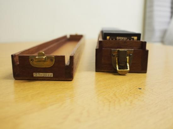 Wooden slide box opened