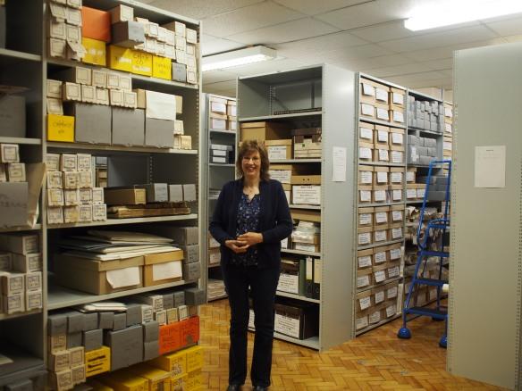 Helen Kendall in Teesside Archive strongroom